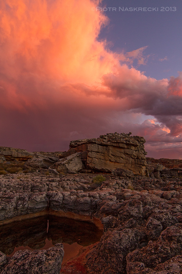 A storm passes over the top of a mountain in Cederberg at the end of a scorchingly hot day. This place is worth every degree and every arachnid above my comfort level. [Canon 7D, Canon 14mm]