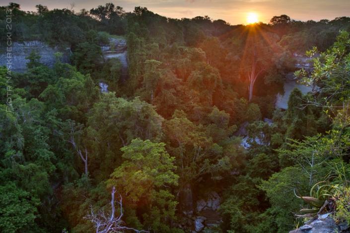 Sunrise over Nhagutua Gorge in Gorongosa National Park