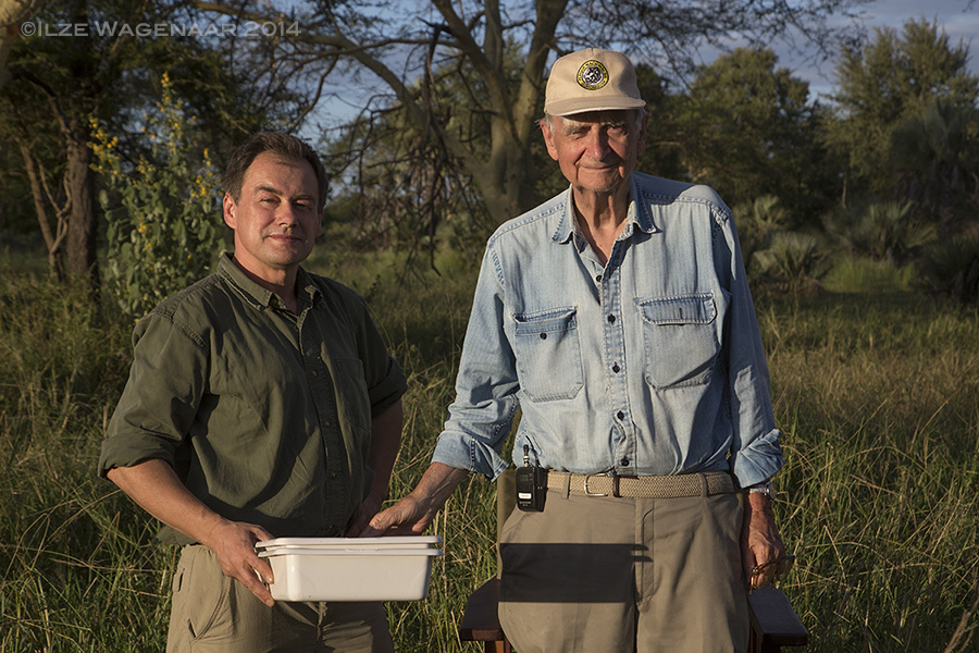 Piotr Naskrecki and Edward O. Wilson in Gorongosa National Park, Mozambique.