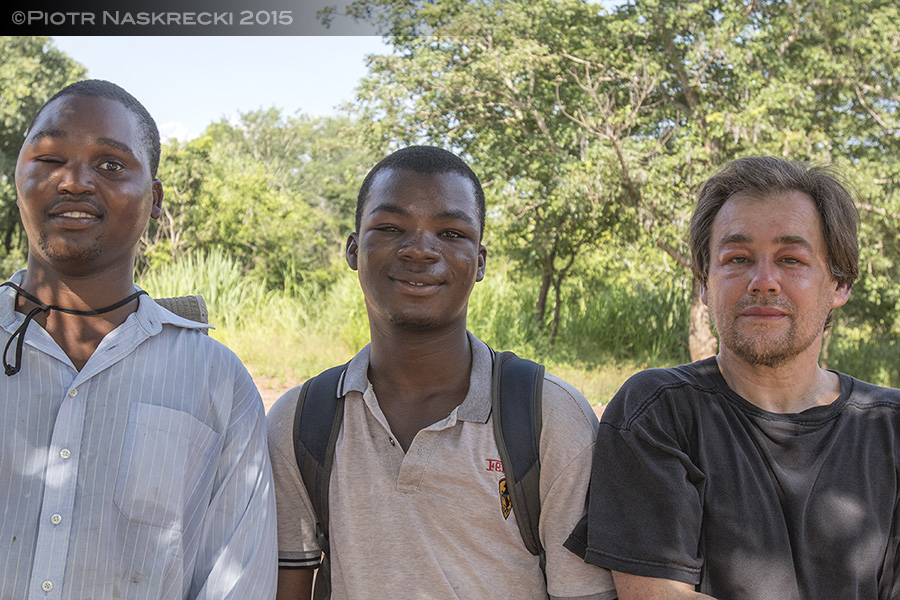 Flavio Artur, Ricardo Guta, and I, 24 hours after being attacked by a swarm of wild African honey bees. On that morning I pulled out nearly 150 stingers from my skin.